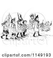 Clipart Of A Retro Vintage Black And White Group Of Marching Children Royalty Free Vector Illustration