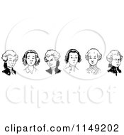 Clipart Of A Retro Vintage Black And White Border Of Wig Boys Royalty Free Vector Illustration