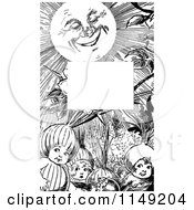 Clipart Of A Retro Vintage Black And White Border Of Sunshine And Children Royalty Free Vector Illustration by Prawny Vintage