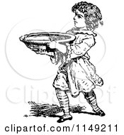 Clipart Of A Retro Vintage Black And White Boy Carrying A Bowl Royalty Free Vector Illustration