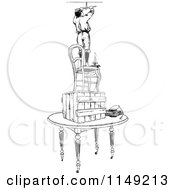 Clipart Of A Retro Vintage Black And White Boy On A Pile Of Furniture Fixing A Light Fixture 2 Royalty Free Vector Illustration