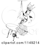 Clipart Of A Retro Vintage Black And White Boy Falling From A Pile Of Furniture Royalty Free Vector Illustration