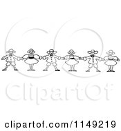 Clipart Of A Retro Vintage Black And White Border Of Children Holding Hands Royalty Free Vector Illustration