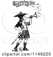 Clipart Of A Retro Vintage Black And White Bugle Boy Playing Music Royalty Free Vector Illustration by Prawny Vintage