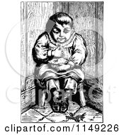 Clipart Of A Retro Vintage Black And White Boy Eating Pie In A Corner Royalty Free Vector Illustration