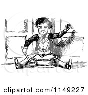 Clipart Of A Retro Vintage Black And White Boy Sitting With A Pie Royalty Free Vector Illustration