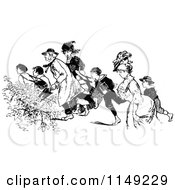 Clipart Of Retro Vintage Black And White Hurried People Royalty Free Vector Illustration