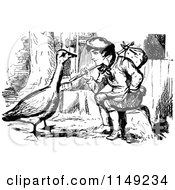 Clipart Of A Retro Vintage Black And White Vagrant Boy And Goose Royalty Free Vector Illustration