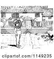 Clipart Of A Retro Vintage Black And White Boy And Chickens In A Yard Royalty Free Vector Illustration