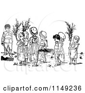 Clipart Of Retro Vintage Black And White Kids In A Garden Royalty Free Vector Illustration