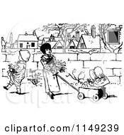 Clipart Of Retro Vintage Black And White Children With A Wagon Royalty Free Vector Illustration by Prawny Vintage