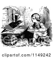 Clipart Of A Retro Vintage Black And White Boy Talking To A Bird Royalty Free Vector Illustration