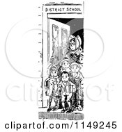Clipart Of A Retro Vintage Black And White Teacher And Children In A School Door Royalty Free Vector Illustration by Prawny Vintage