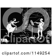 Clipart Of A Retro Vintage Black And White Female Dancer And Violinist Royalty Free Vector Illustration by Prawny Vintage