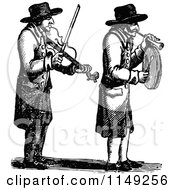 Clipart Of Retro Vintage Black And White Men Playing A Violin And Horn Royalty Free Vector Illustration by Prawny Vintage
