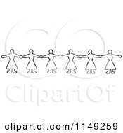 Clipart Of A Retro Vintage Black And White Border Of Women Holding Hands Royalty Free Vector Illustration