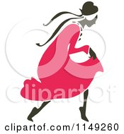 Clipart Of A Retro Vintage Black And White Woman In A Pink Dress Royalty Free Vector Illustration