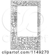 Clipart Of A Retro Vintage Black And White Leafy Frame Royalty Free Vector Illustration