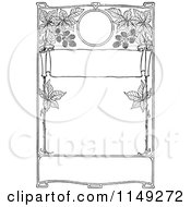 Clipart Of A Retro Vintage Black And White Frame Of Blackberries Royalty Free Vector Illustration