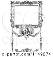 Clipart Of A Retro Vintage Black And White Ornate Warrior Border Royalty Free Vector Illustration
