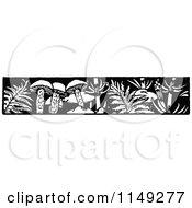 Clipart Of A Retro Vintage Black And White Mushroom Border Royalty Free Vector Illustration