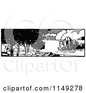 Clipart Of A Retro Vintage Black And White Coastal Panorama Royalty Free Vector Illustration