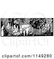 Clipart Of A Retro Vintage Black And White Ruins And Tree Panorama Royalty Free Vector Illustration