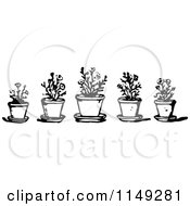 Clipart Of A Retro Vintage Black And White Border Of Potted Plants Royalty Free Vector Illustration