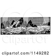 Clipart Of A Retro Vintage Black And White Ocean Panorama Royalty Free Vector Illustration