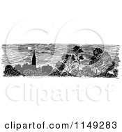 Clipart Of A Retro Vintage Black And White Skyline And Tree Scene Royalty Free Vector Illustration