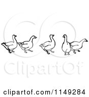 Clipart Of A Retro Vintage Black And White Goose Border Royalty Free Vector Illustration