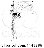 Clipart Of A Retro Vintage Black And White Border Of A Map And Flowers Royalty Free Vector Illustration