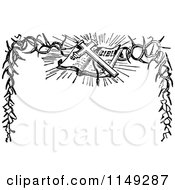 Clipart Of A Retro Vintage Black And White Easter Bible Border Royalty Free Vector Illustration