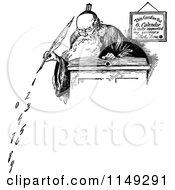 Retro Vintage Black And White Old Father Time Writing Numbers