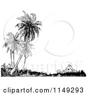 Clipart Of A Retro Vintage Black And White House And Palm Trees Royalty Free Vector Illustration by Prawny Vintage