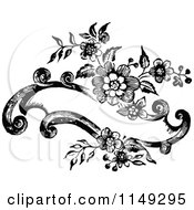 Clipart Of A Retro Vintage Black And White Floral Banner Design Royalty Free Vector Illustration