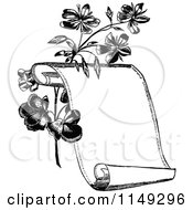Clipart Of A Retro Vintage Black And White Scroll And Flowers Royalty Free Vector Illustration