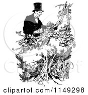 Clipart Of Retro Vintage Black And White Abraham Lincoln With Birds And A Nest Royalty Free Vector Illustration