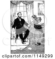 Clipart Of Retro Vintage Black And White Abraham Lincoln And Girl Royalty Free Vector Illustration