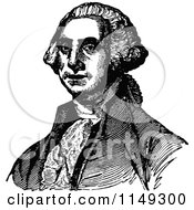 Clipart Of Retro Vintage Black And White George Washington Royalty Free Vector Illustration