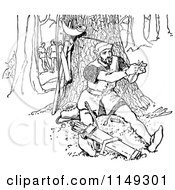 Clipart Of A Retro Vintage Black And White Man Repairing An Arrow In The Forest Royalty Free Vector Illustration