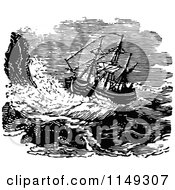 Clipart Of A Retro Vintage Black And White Ship On A Stormy Sea Royalty Free Vector Illustration by Prawny Vintage