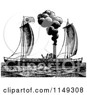 Clipart Of A Retro Vintage Black And White Steam Ship Royalty Free Vector Illustration by Prawny Vintage
