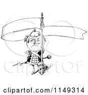 Clipart Of A Retro Vintage Black And White Clock Man With A Banner Royalty Free Vector Illustration by Prawny Vintage