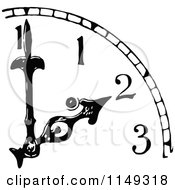 Clipart Of A Retro Vintage Black And White Clock With Hands Pointing To 2 Royalty Free Vector Illustration