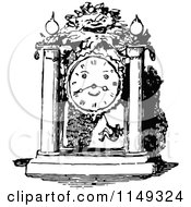 Clipart Of A Retro Vintage Black And White Mantle Clock Face Royalty Free Vector Illustration by Prawny Vintage