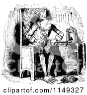 Clipart Of A Retro Vintage Black And White Man Fixing A Clock Royalty Free Vector Illustration by Prawny Vintage