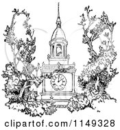 Clipart Of A Retro Vintage Black And White Spire Bell Tower Royalty Free Vector Illustration by Prawny Vintage