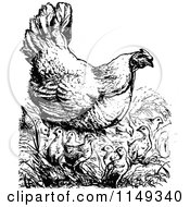 Clipart Of A Retro Vintage Black And White Chicken With Chicks Royalty Free Vector Illustration by Prawny Vintage