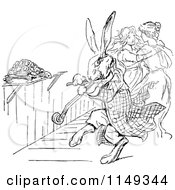 Clipart Of A Retro Vintage Black And White Rabbit Playing A Fiddle Royalty Free Vector Illustration